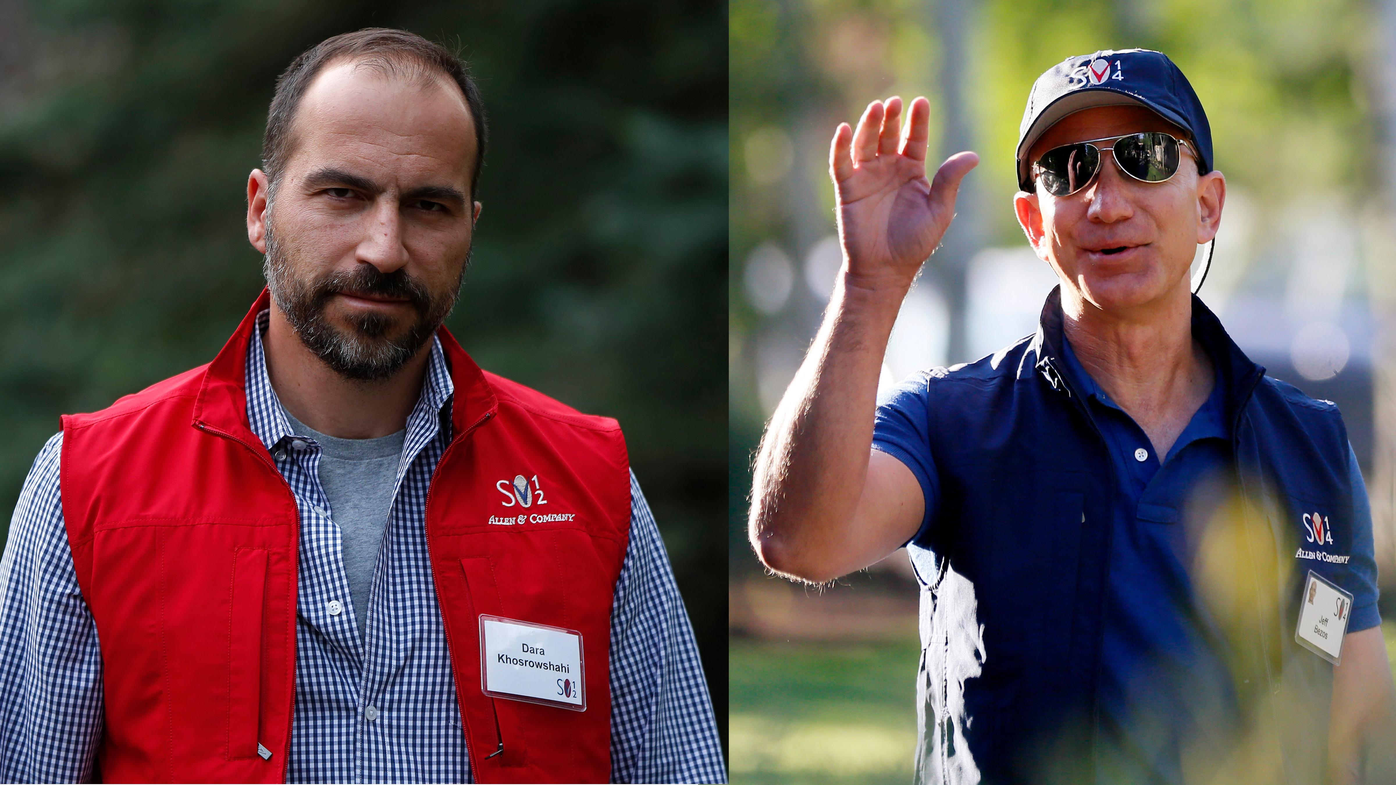 Uber CEO Dara Khosrowshahi and Amazon CEO Jeff Bezos.