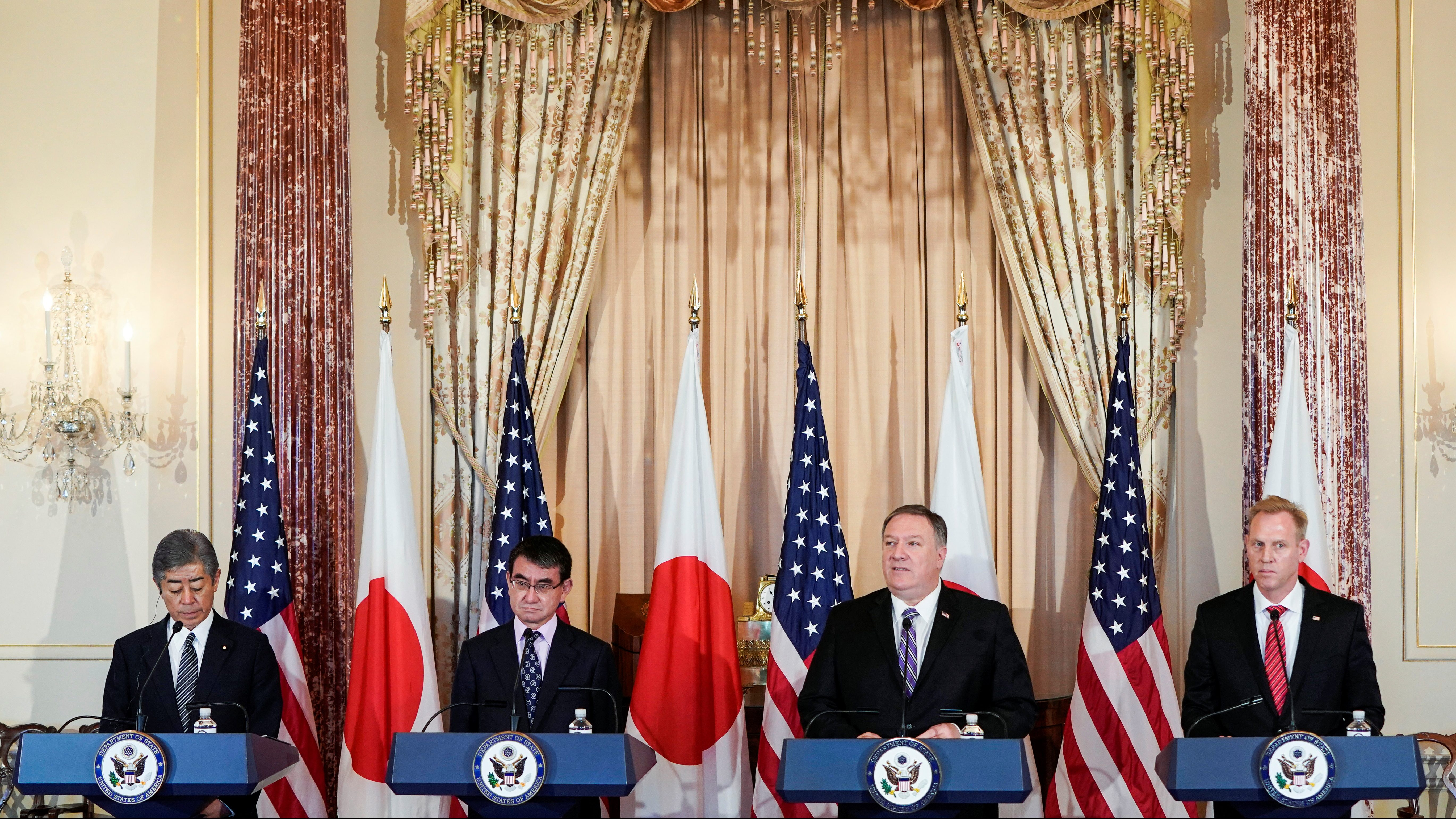 Japanese Defense Minister Takeshi Iwaya, Japanese Foreign Minister Taro Kono, U.S. Secretary of State Mike Pompeo and Acting U.S. Secretary of Defense Patrick Shanahan speak to the media at the State Department in Washington, U.S., April 19, 2019.