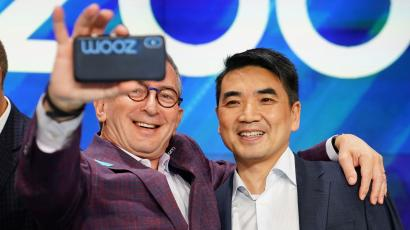 Eric Yuan, CEO of Zoom Video Communications poses for a photo after he took part in a bell ringing ceremony at the NASDAQ MarketSite in New York, New York, U.S., April 18, 2019. REUTERS/Carlo Allegri - RC1FEDE1D3A0