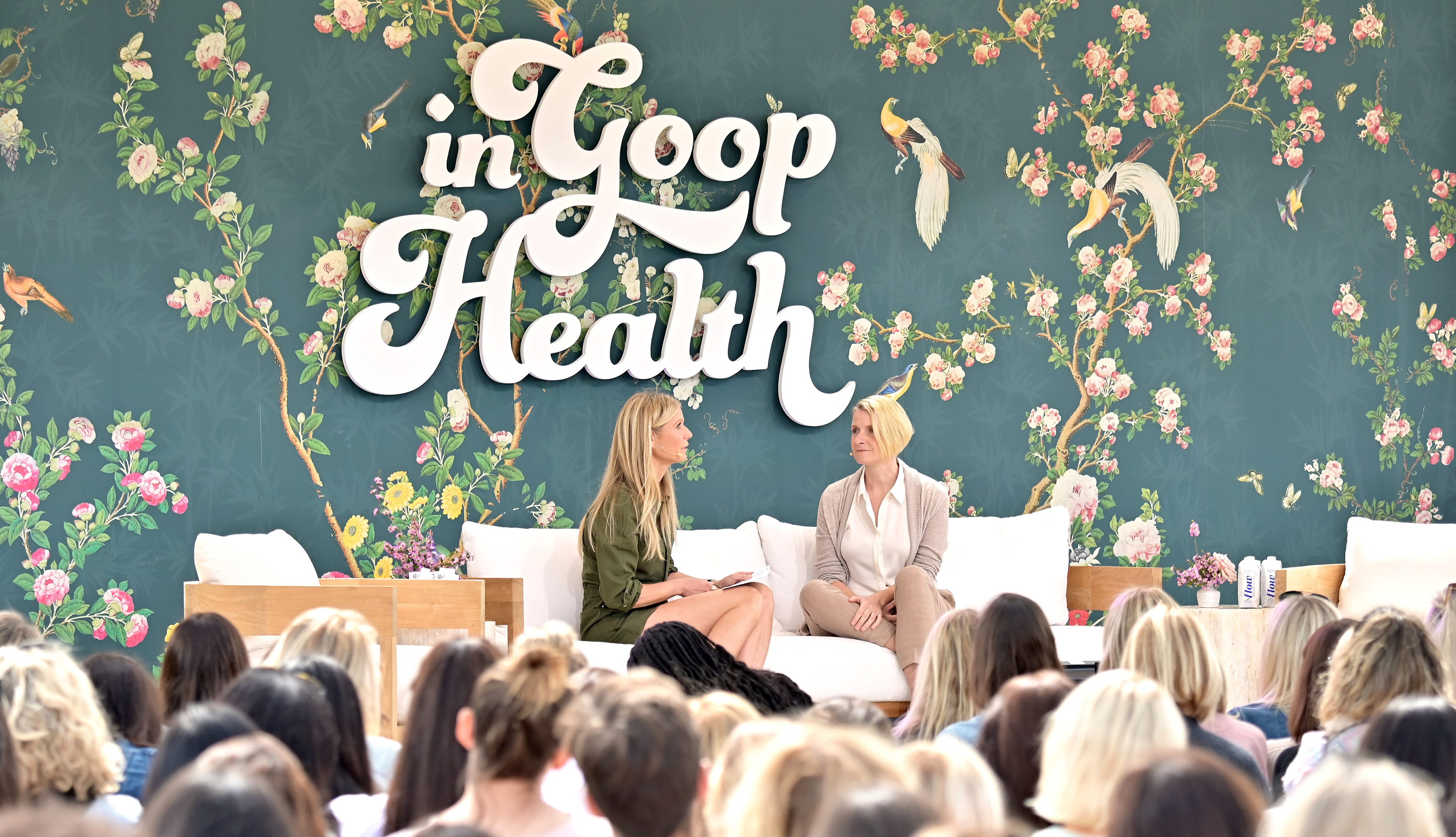 LOS ANGELES, CALIFORNIA - MAY 18: (L-R) goop CEO Gwyneth Paltrow and Elizabeth Gilbert speak onstage at In goop Health Summit Los Angeles 2019 at Rolling Greens Nursery on May 18, 2019 in Los Angeles, California. (Photo by Neilson Barnard/Getty Images for goop)