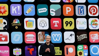 Tim Cook in front of apps