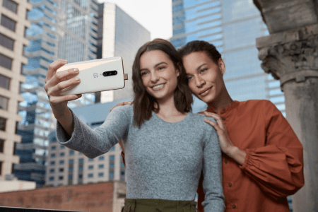 Taking a selfie with the pop-out camera on the OnePlus