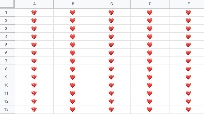 A spreadsheet filled with hearts.