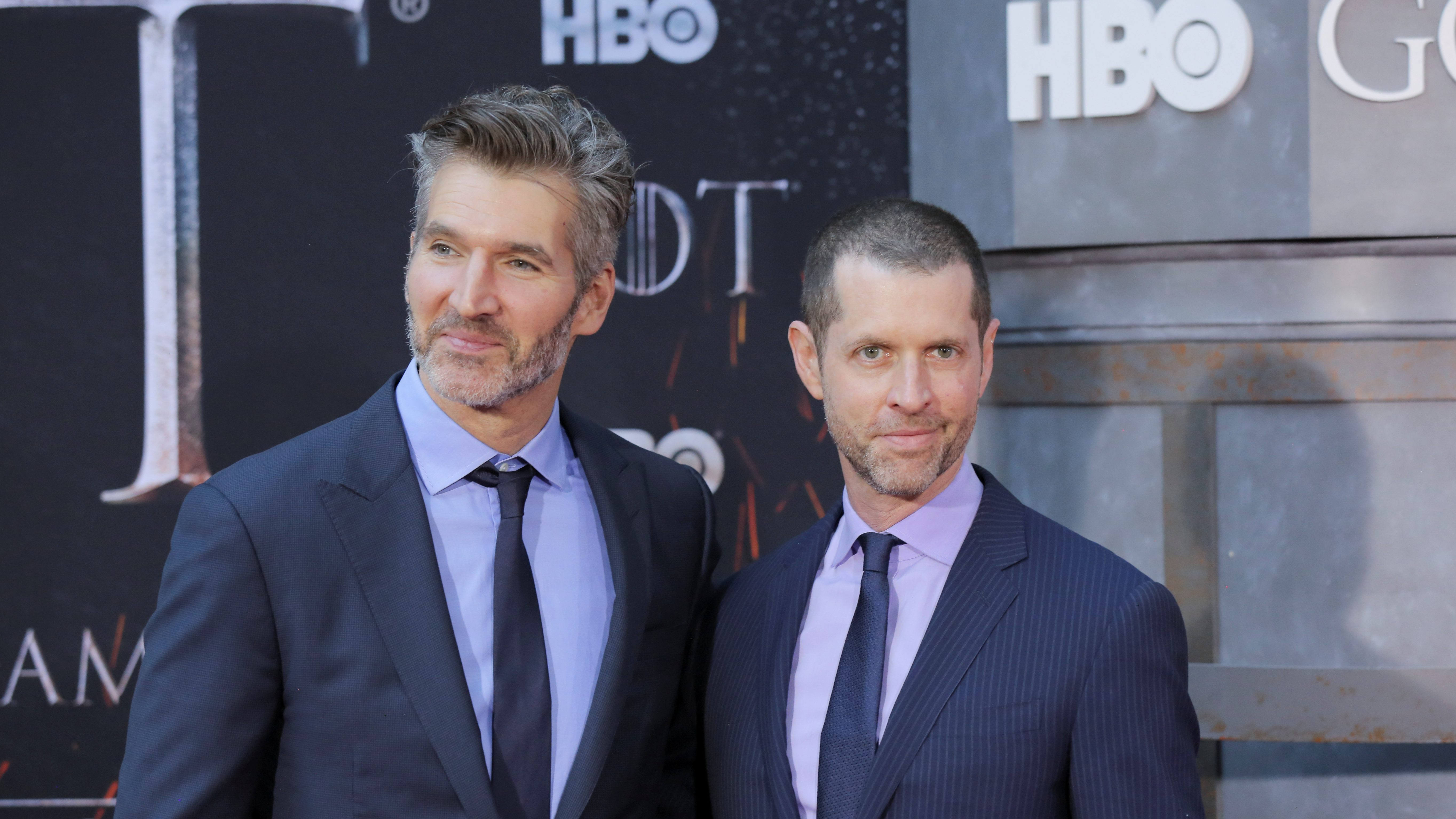 """Game of Thrones creators David Benioff and D.B. Weiss arrive for the premiere of the final season of """"Game of Thrones"""" at Radio City Music Hall in New York"""