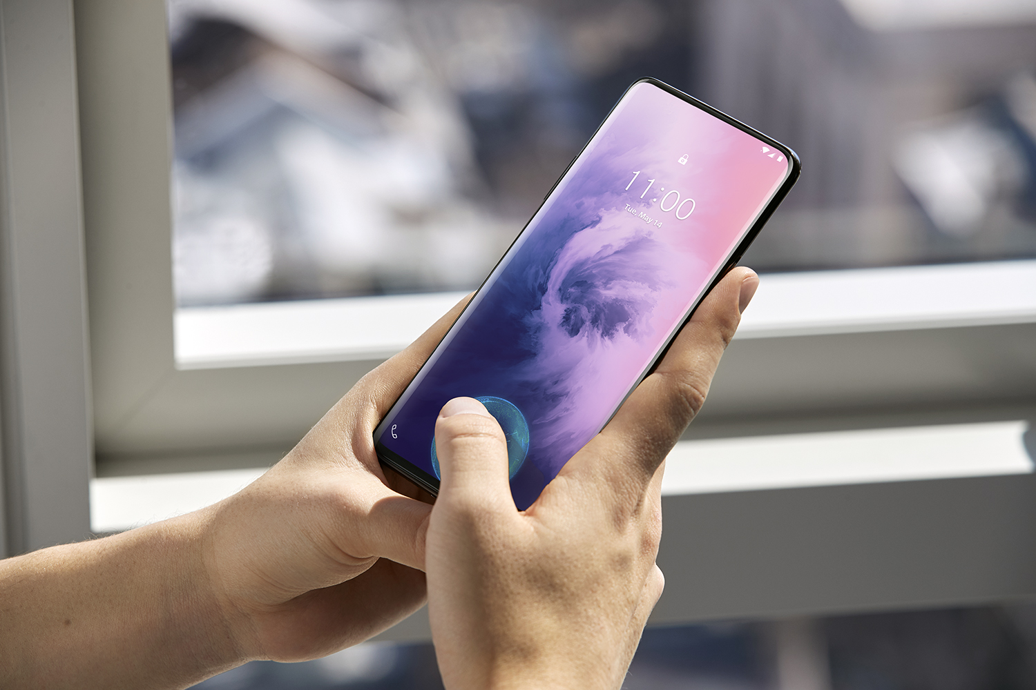 The fingerprint scanner is built into the display.