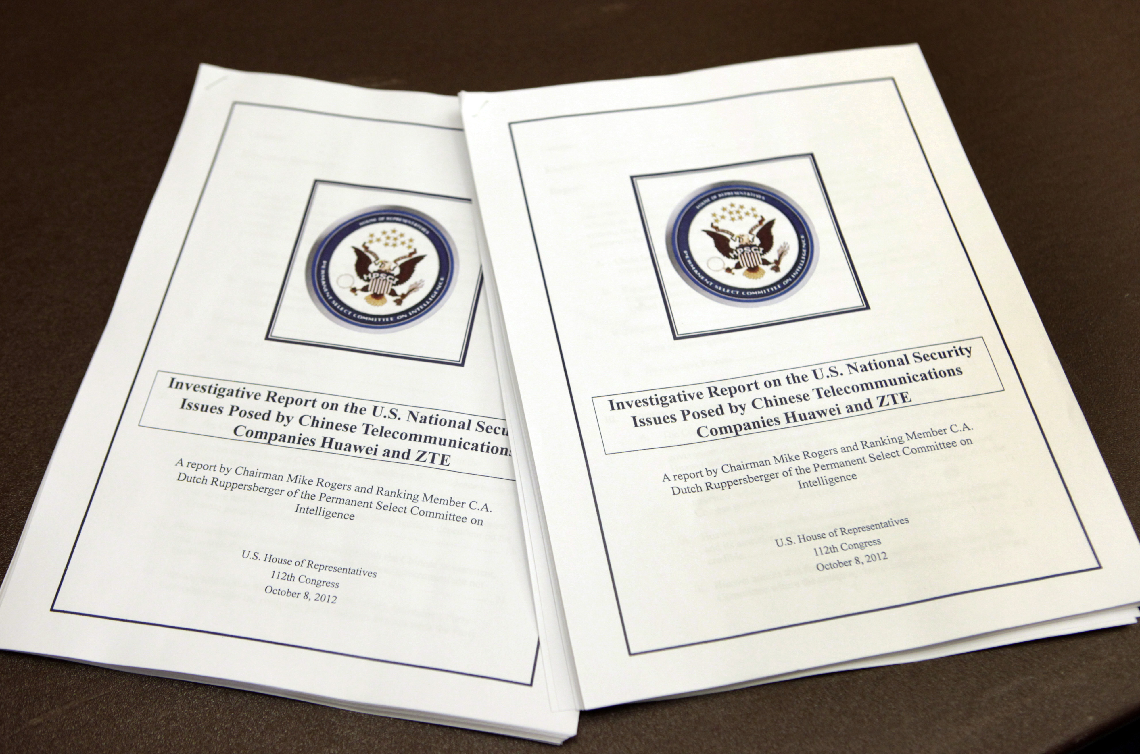 House intelligence committee report on Huawei, ZTE