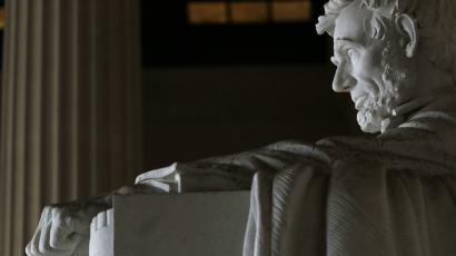 Former US President Abraham Lincoln's statue is seen at Lincoln Memorial in Washington