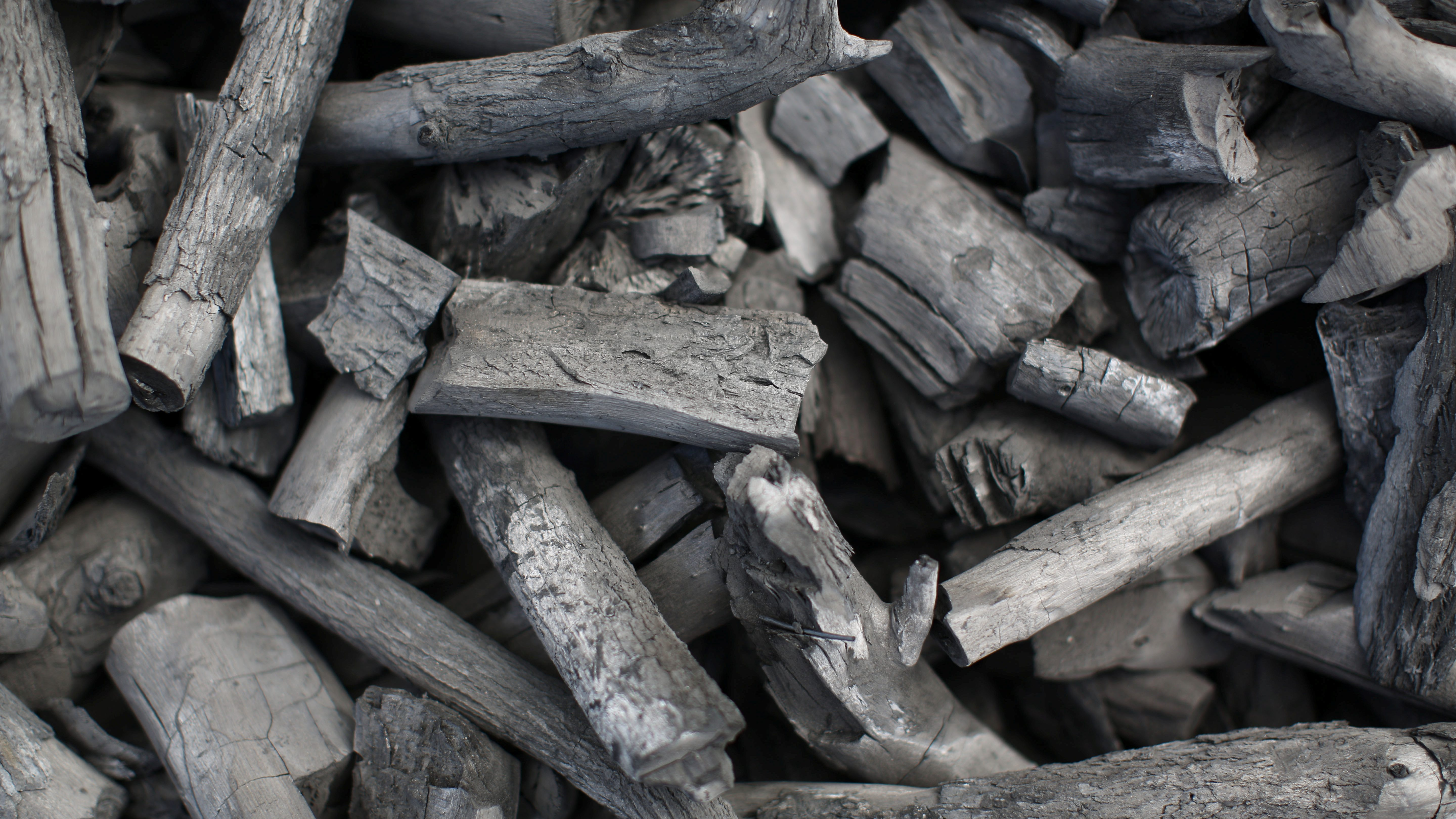 Rectangular charcoal briquettes.
