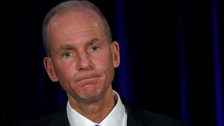 BoeingChief Executive Dennis Muilenburg during a news conference at the annual shareholder meeting in Chicago