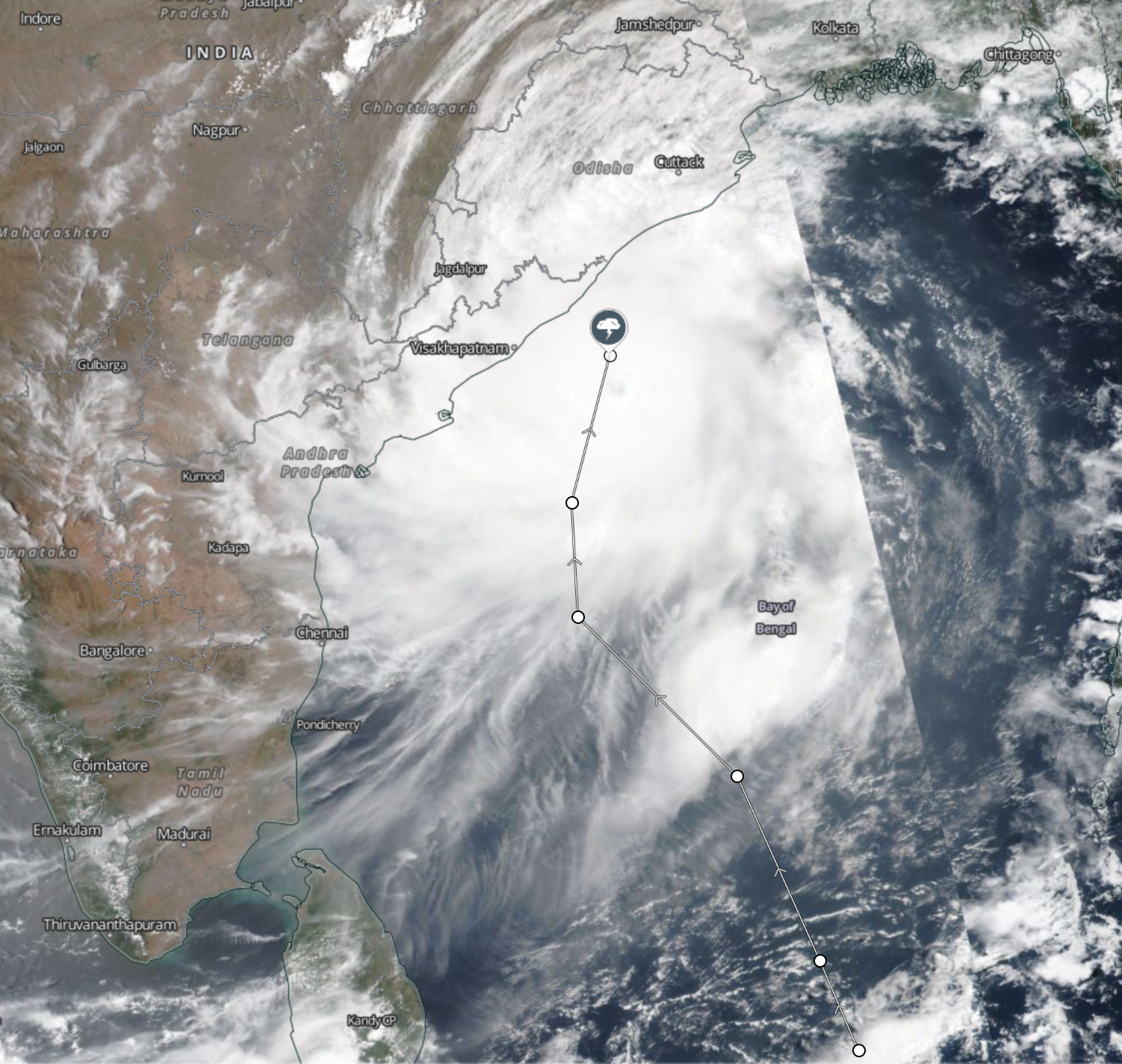 Cyclone Fani update: NASA images of Odisha's coastal areas — Quartz