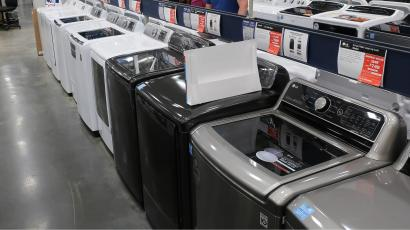 An image of washing machines at a store.