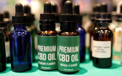 CBD Oil is displayed at The Cannabis World Congress & Business Exposition (CWCBExpo) trade show in New York City, New York, U.S., May 30, 2019. REUTERS/Mike Segar - RC1DB72E6B90