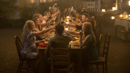 The remaining characters of True Blood gather around a dinner table