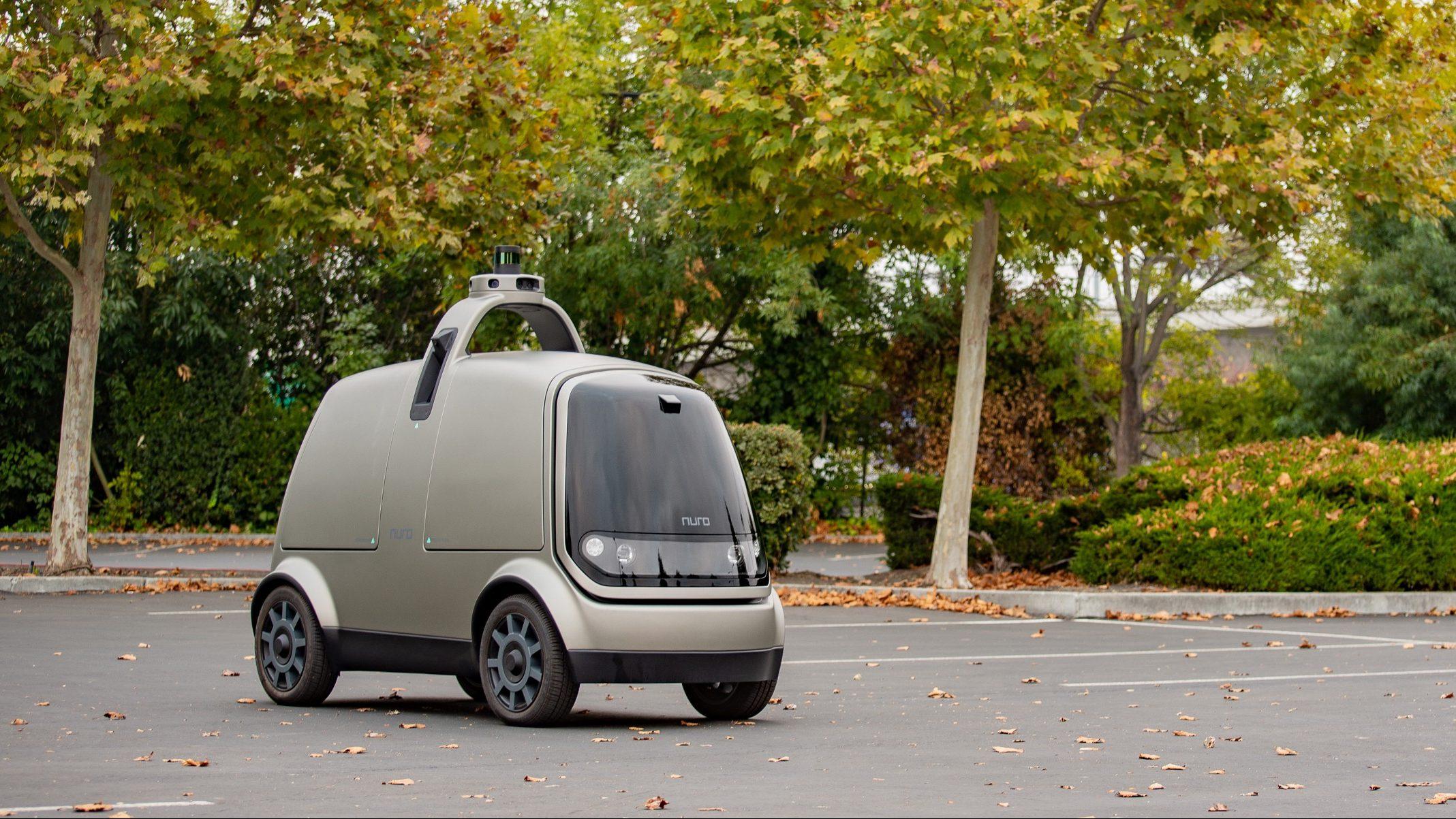 A Nuro delivery robot.