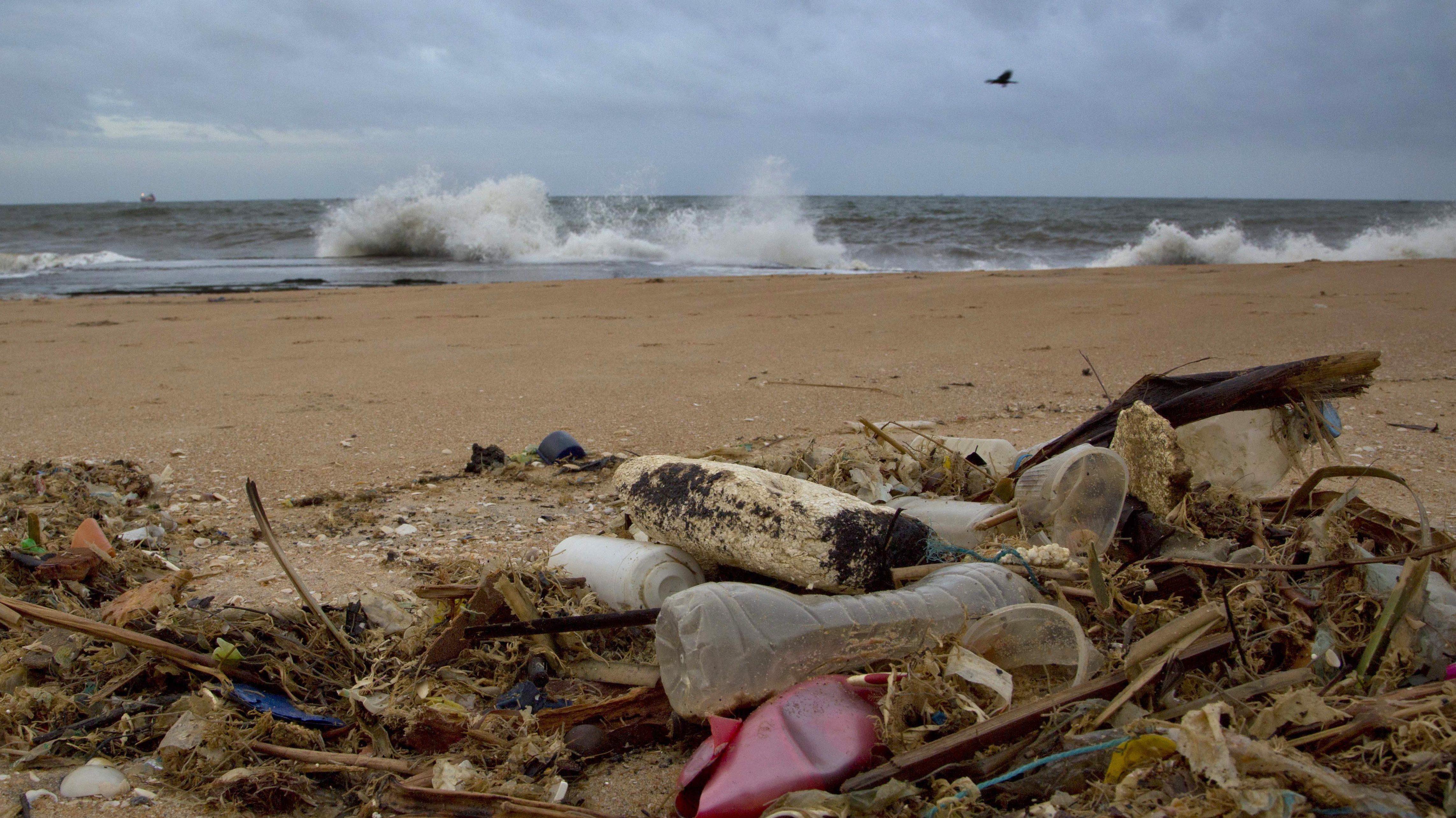 a plastic bottle lies among other debris washed ashore on the Indian Ocean beach of Uswetakeiyawa, north of Colombo, Sri Lanka.