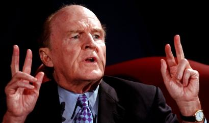 Former GE chairman and chief executive Jack Welch speaks at the International Society of Six Sigma Professionals' annual conference,