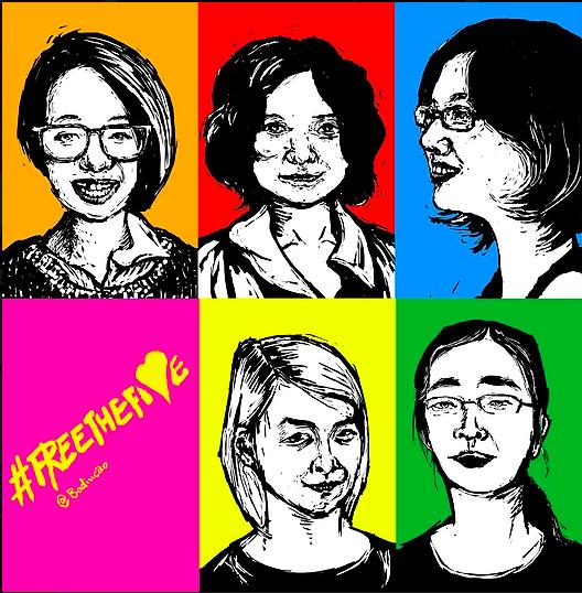Feminist five Badiucao drawing