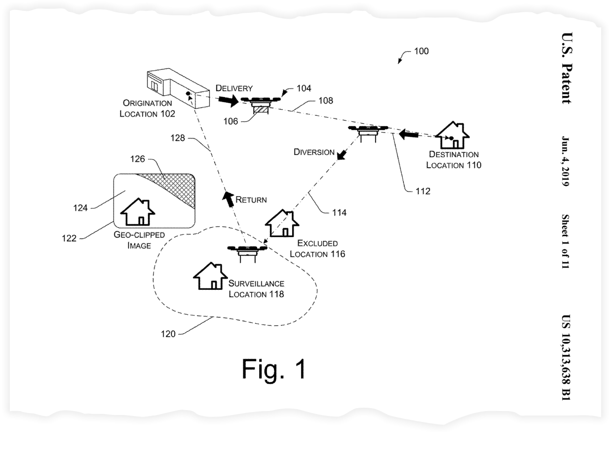 """An image from Amazon's patent for """"surveillance as a service."""""""