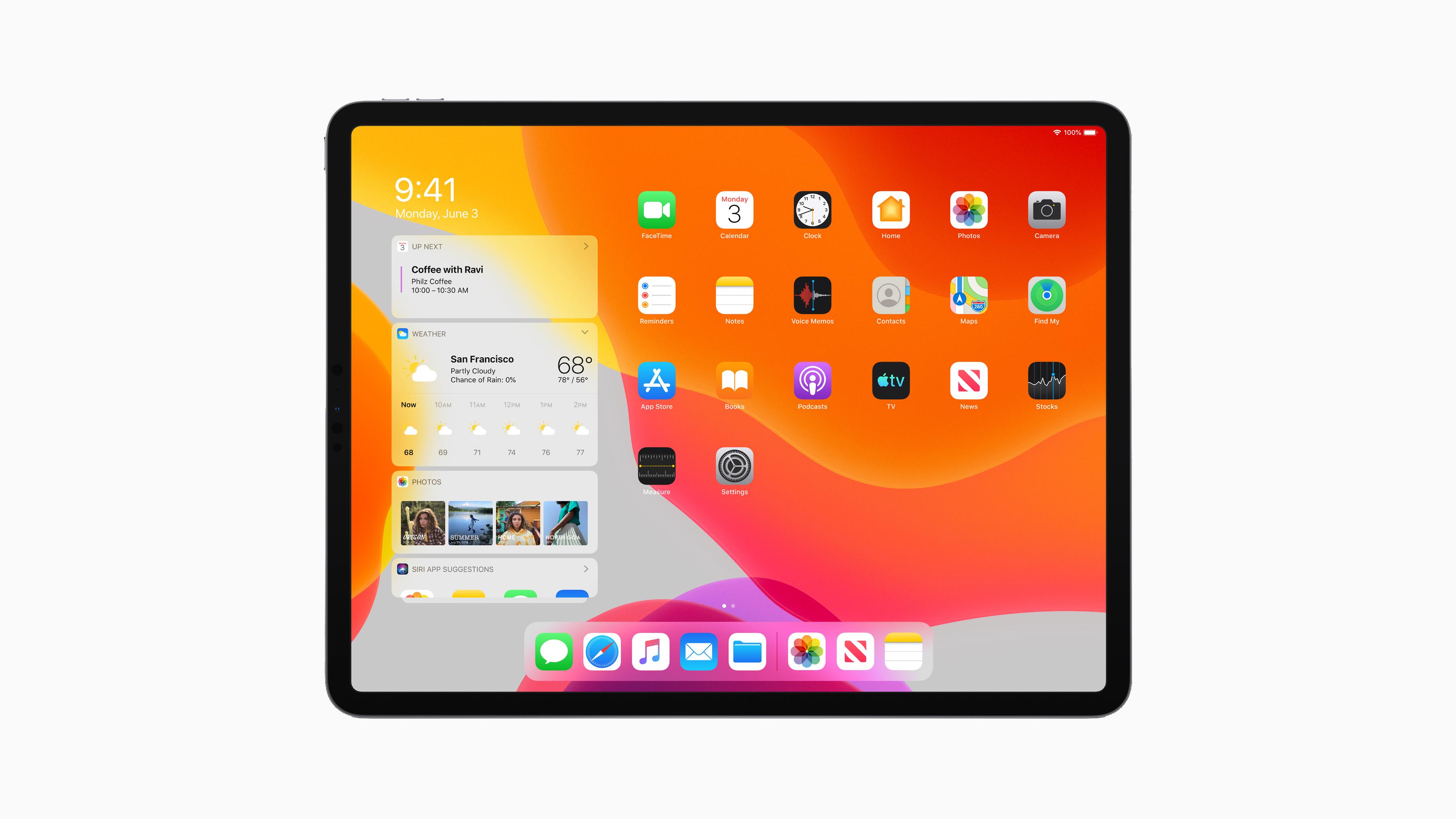 The iPad Pro running iPadOS.
