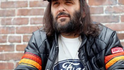 Erik Brunetti, Los Angeles artist and streetwear designer of the clothing brand FUCT, poses for a portrait in Los Angeles