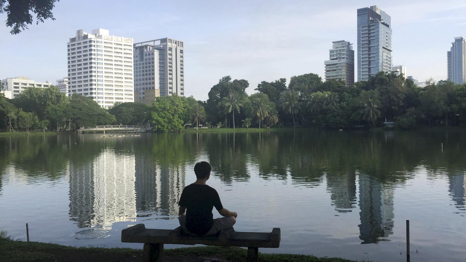 Meditating at lake