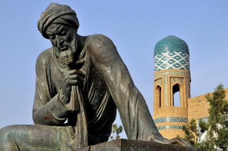 Sculpture of ninth-century Persian scholar Al-Khwarizmi in Khiva, Uzbekistan