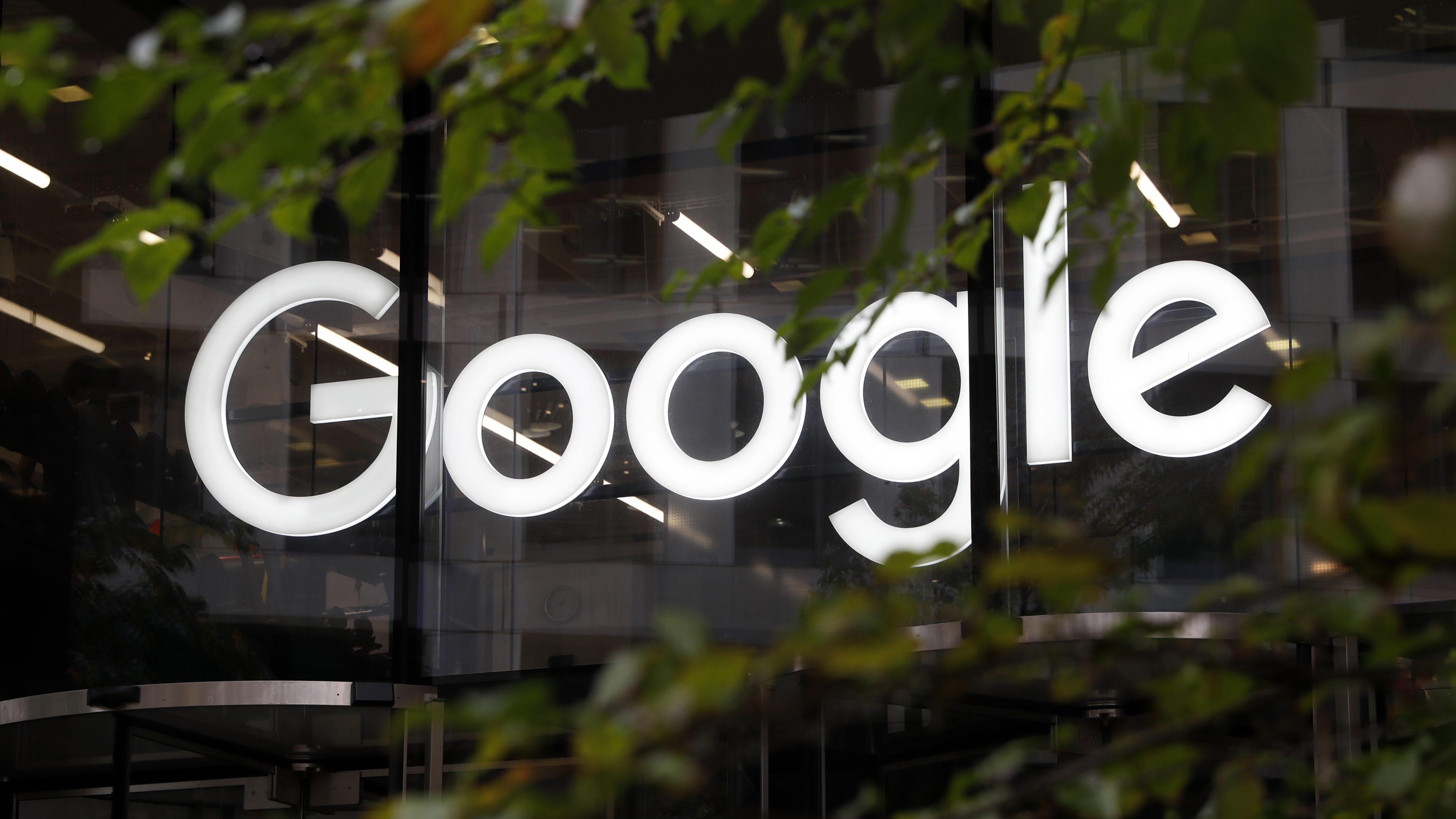 Google's logo on its London office.