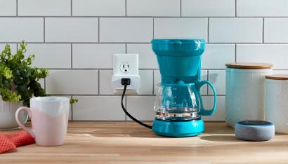 An Amazon Smart Plug connected to a coffee pot.