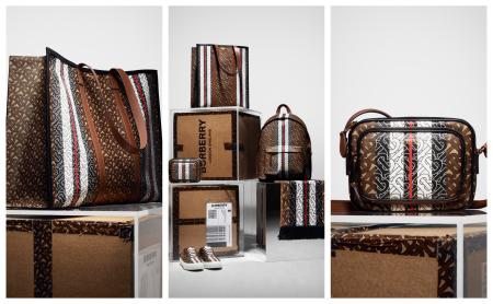 A range of Burberry leather goods, such as a backpack, handbag, and waist bag, in Burberry's new monogram print