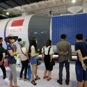 A model of Tiangong 2 space laboratory by China Aerospace Science and Technology Corporation is displayed at China Beijing International High-tech Expo in Beijing