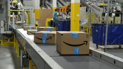 Amazon boxes at an Amazon warehouse