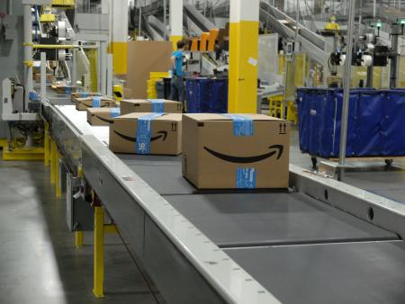 amazon boxes on a conveyor belt