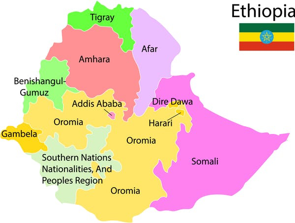 Ethiopia ethnic map