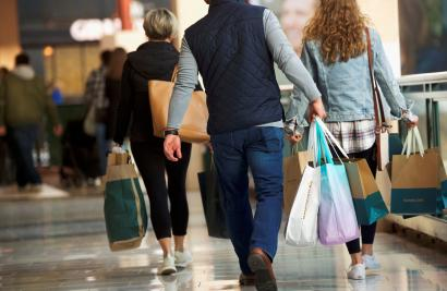 Shoppers carry bags of purchased merchandise at the King of Prussia Mall in King of Prussia, Pennsylvania,