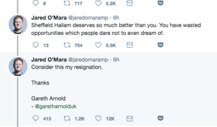 MP Jared O'Mara lost staffer Gareth Arnold in an epic Twitter