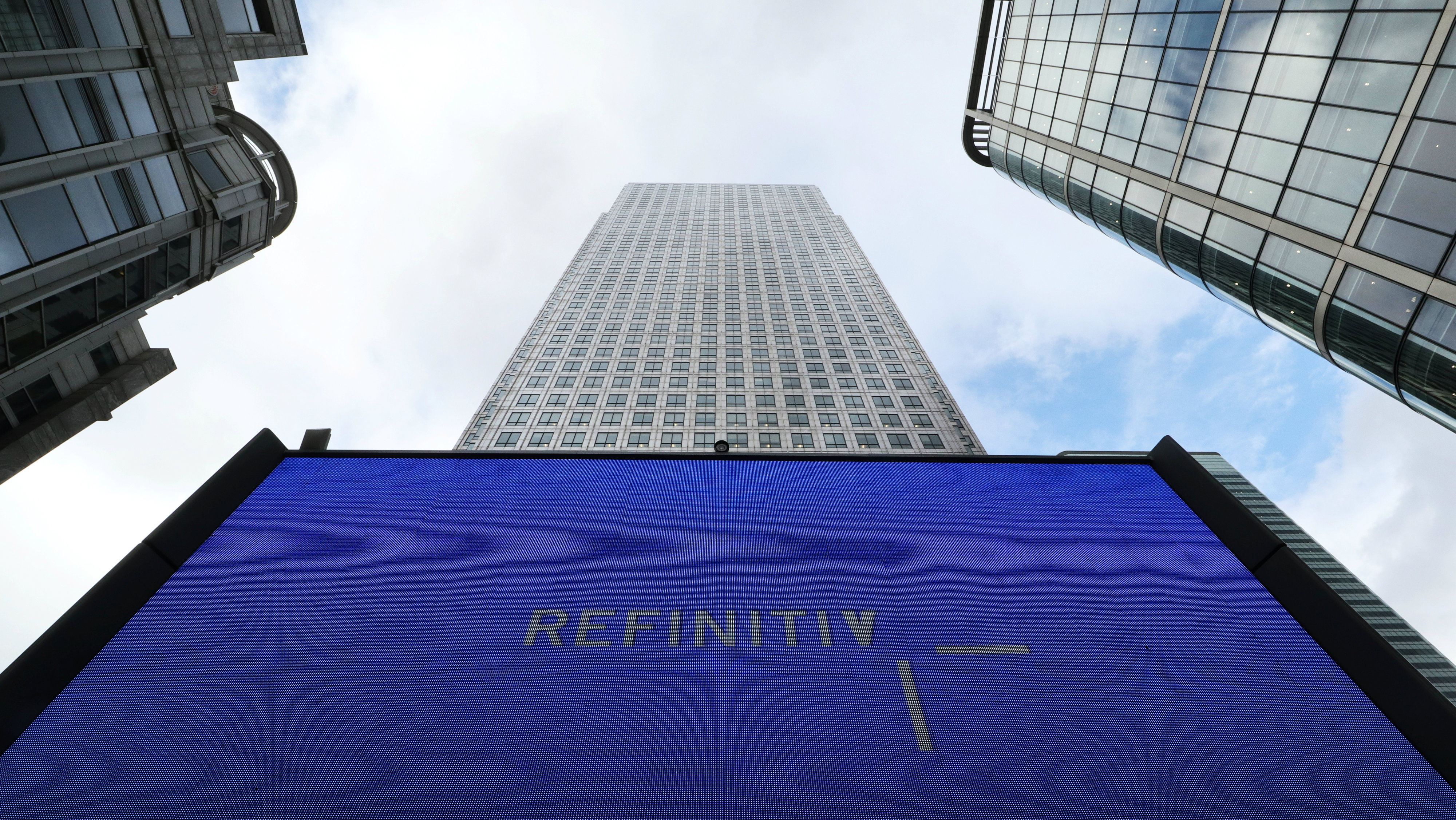 An advertisement for Refinitiv is seen on a screen in London's Canary Wharf financial centre, London, Britain,