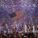 Confetti obscures the stage as U.S. President Barack Obama celebrates after winning the U.S. presidential election.