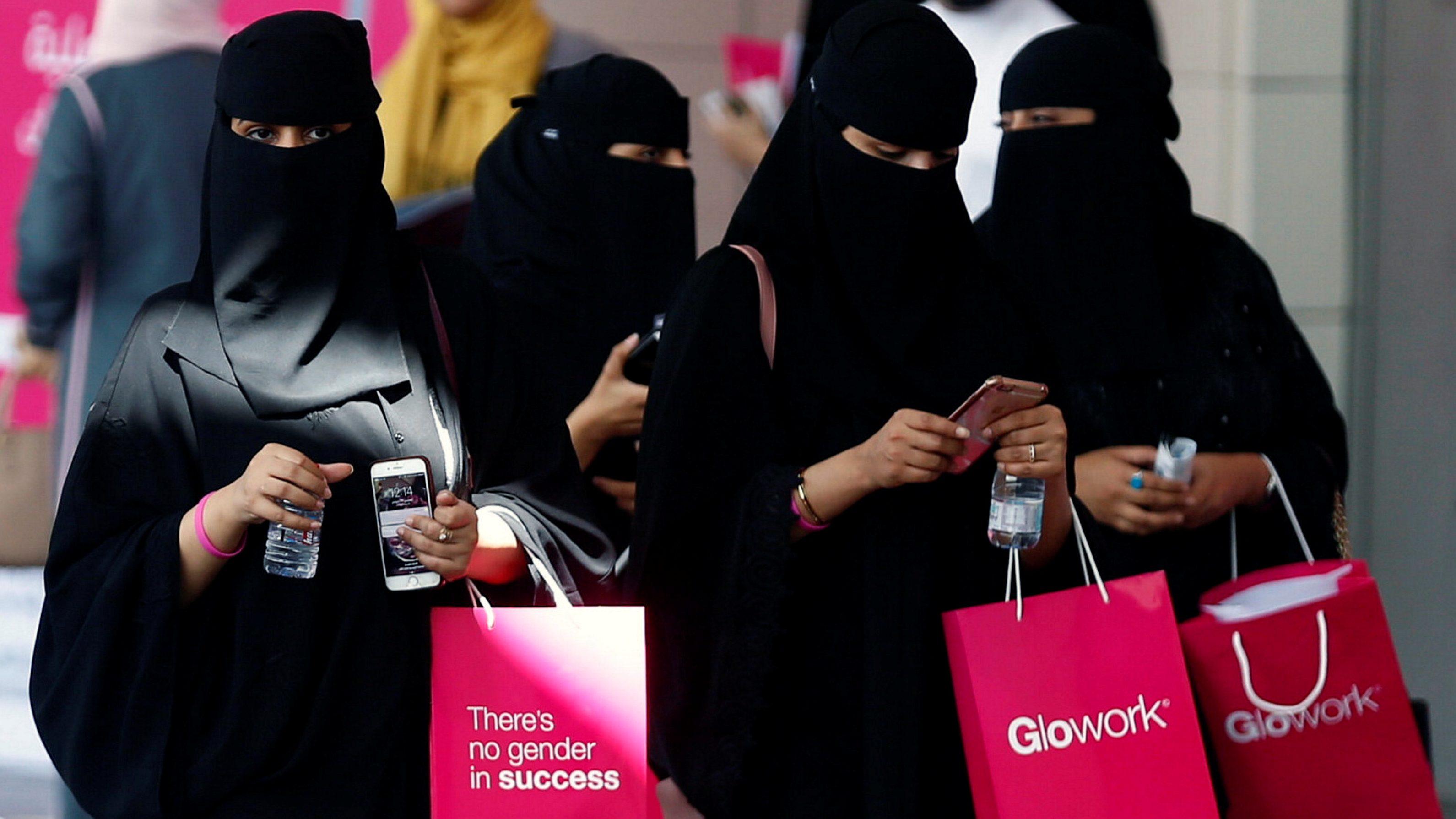 Saudi women take part in Glowork exhibition in Riyadh, Saudi Arabia September 28, 2017.