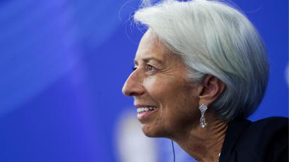Managing director of the International Monetary Fund Lagarde attends a session of the St. Petersburg International Economic Forum