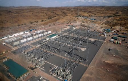 An aerial view of the power substation at the Lake Turkana Wind Power project (LTWP) in Loiyangalani district, Marsabit County
