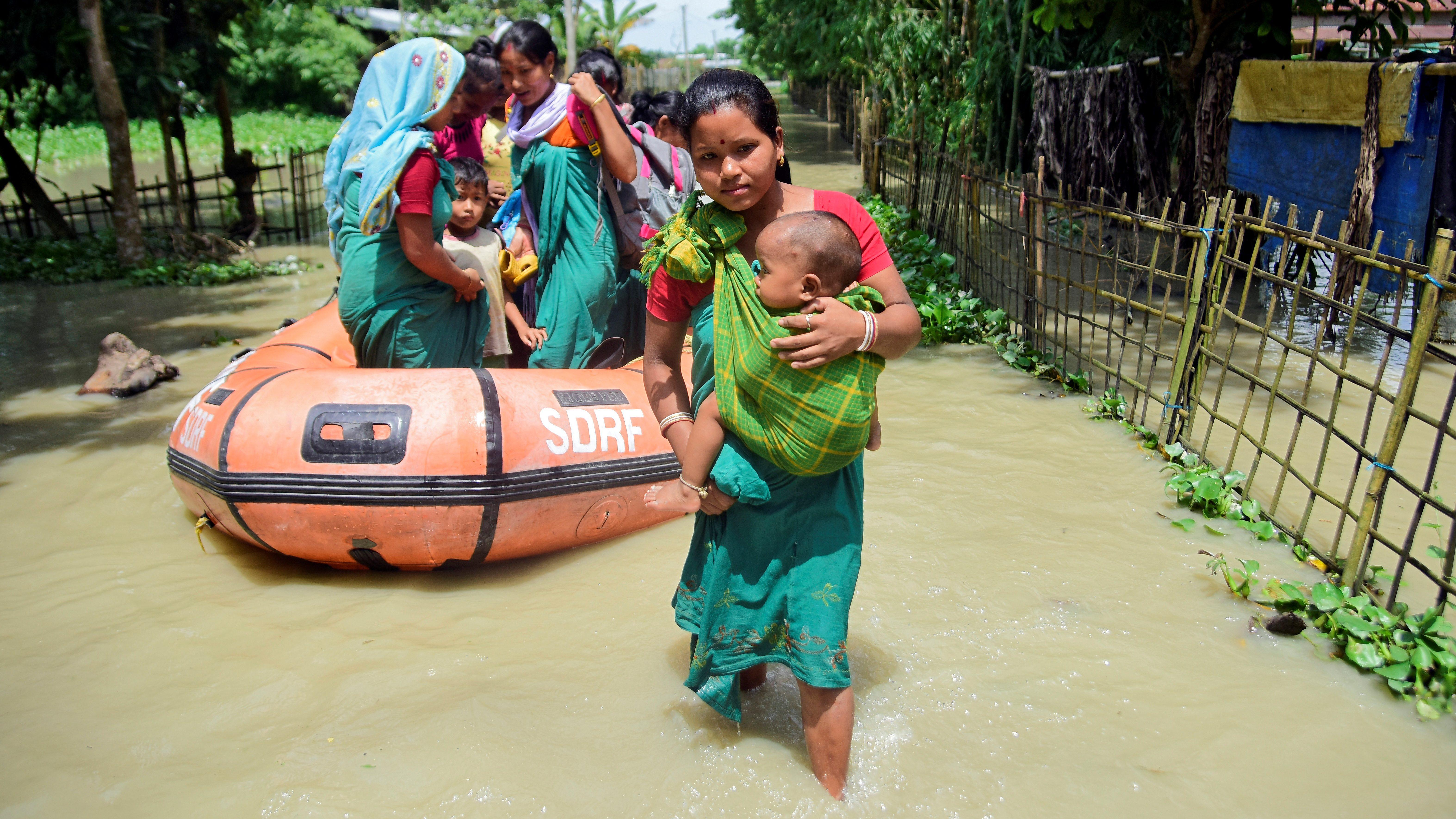 Monsoon floods in India's Bihar and Assam