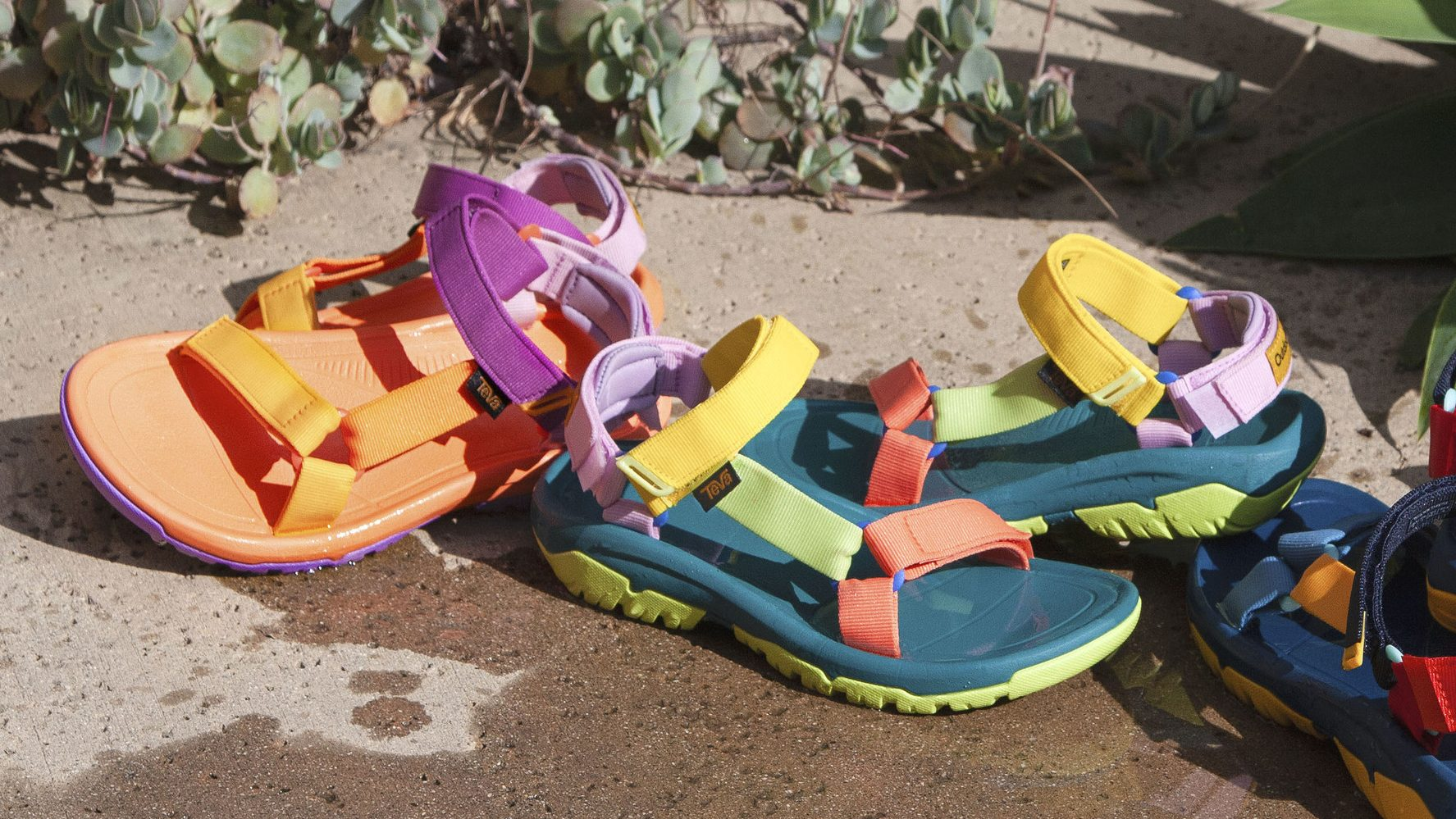 A shot of colorful Teva sandals.