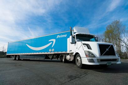 A massive Amazon truck attempts to sate the boundless appetite of American consumers.