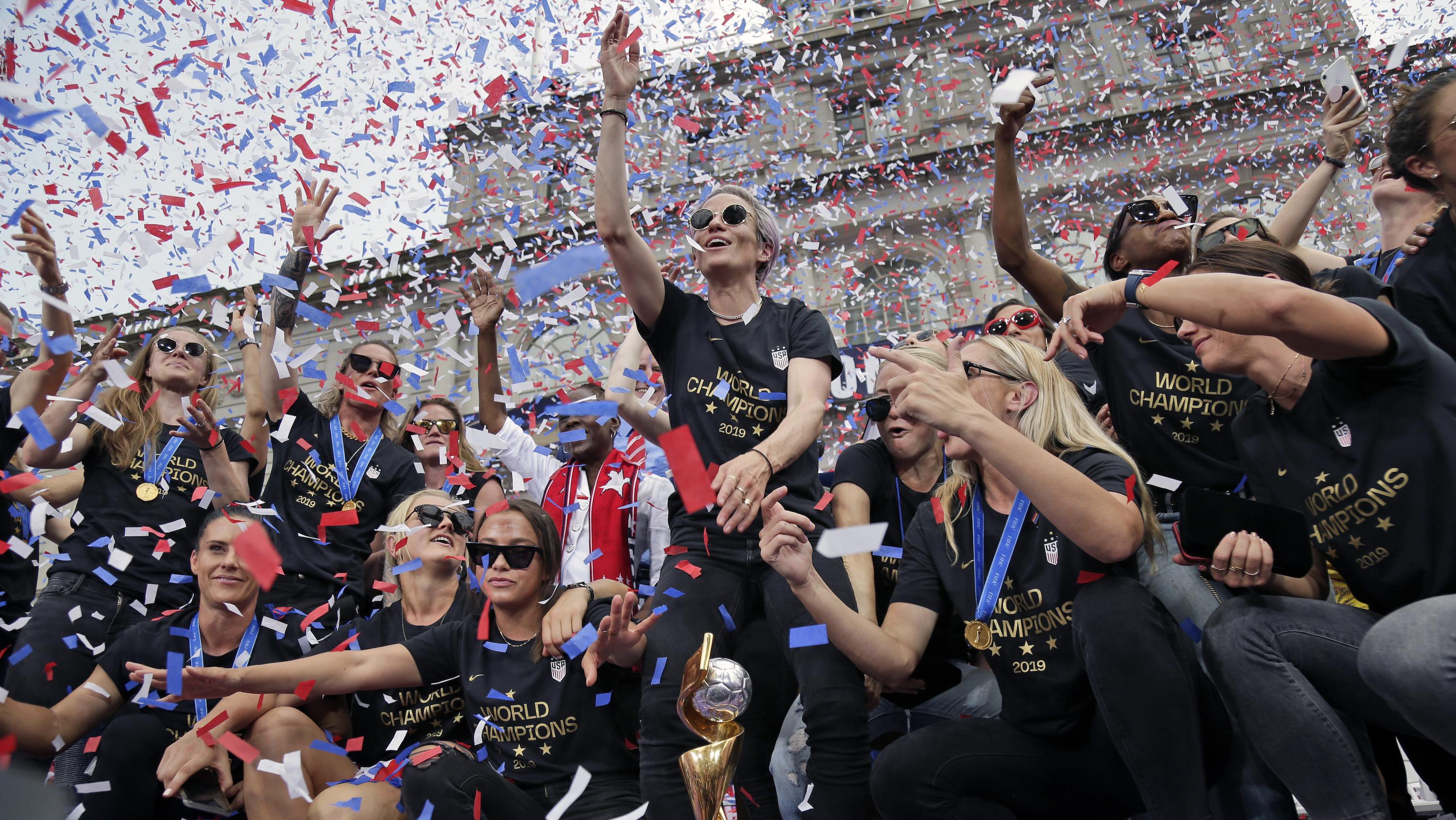 US women's soccer team celebrates World Cup win