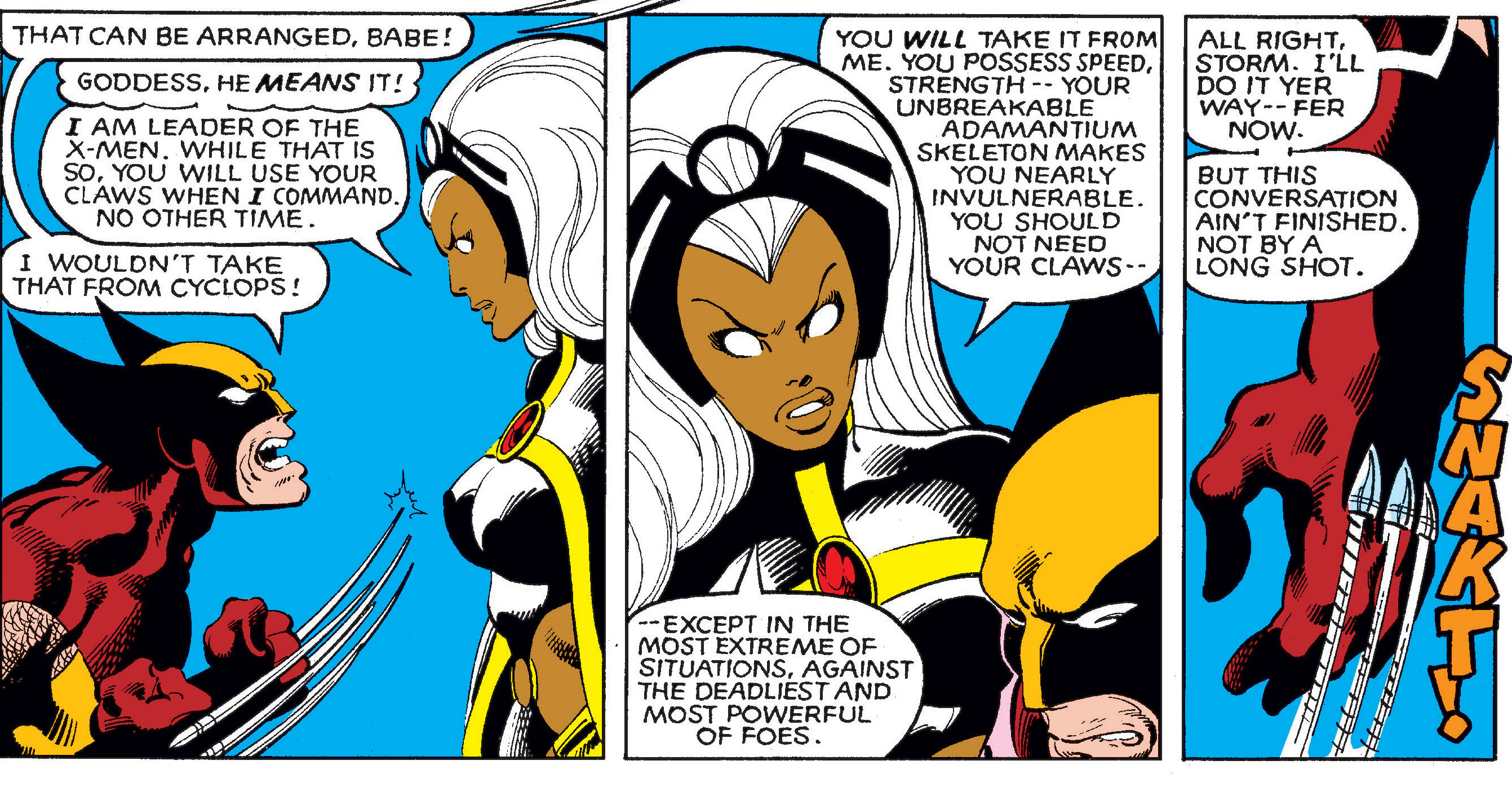 Storm asserts her authority over Wolverine panel from Uncanny X-Men 142