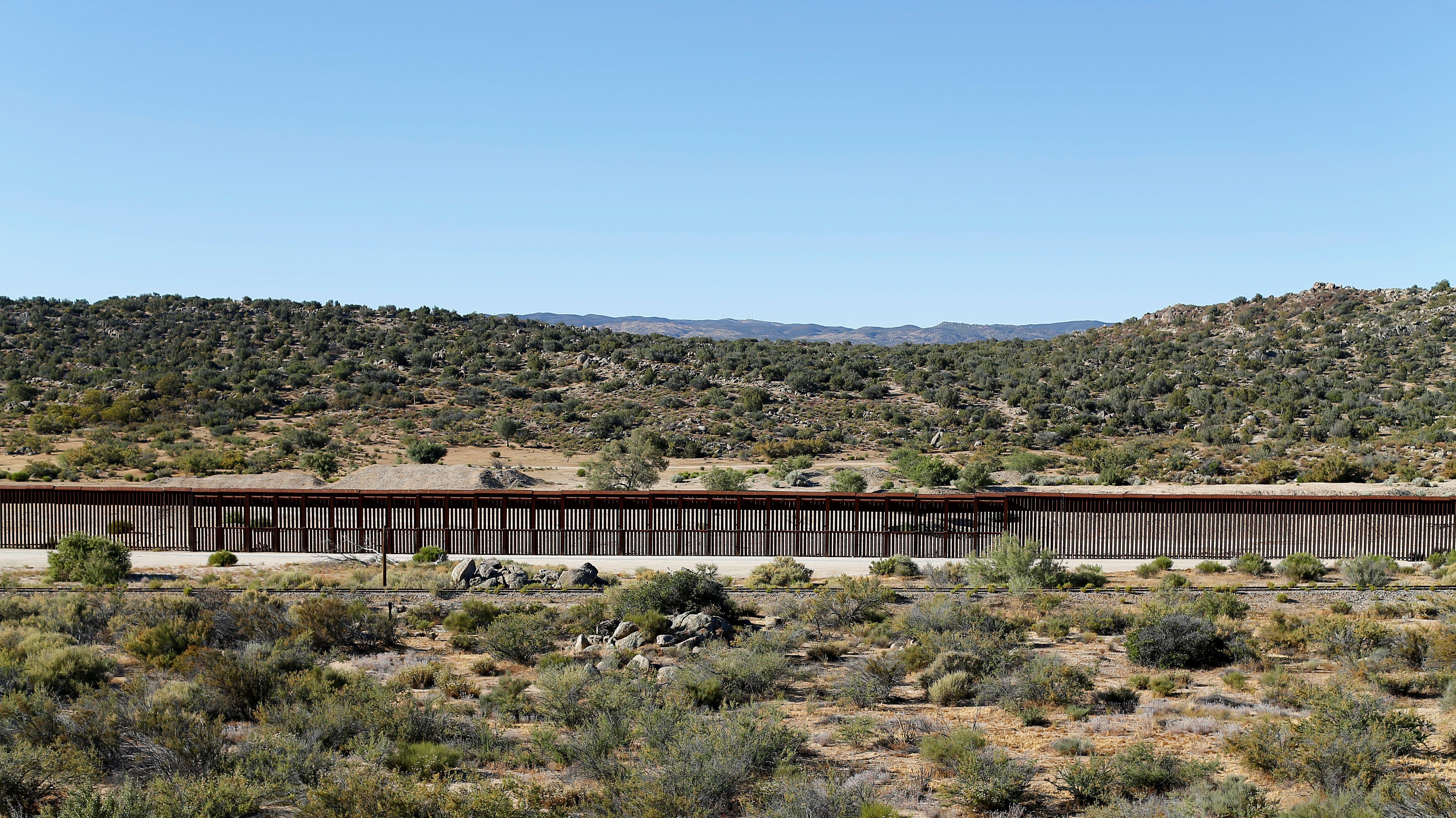 Border fence in Jacumba Hot Springs, California