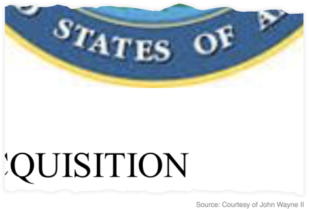 Enlarged Department of Defense seal, showing a sloppily cropped edge