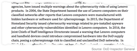 Plenty of warnings about Lenovo products.