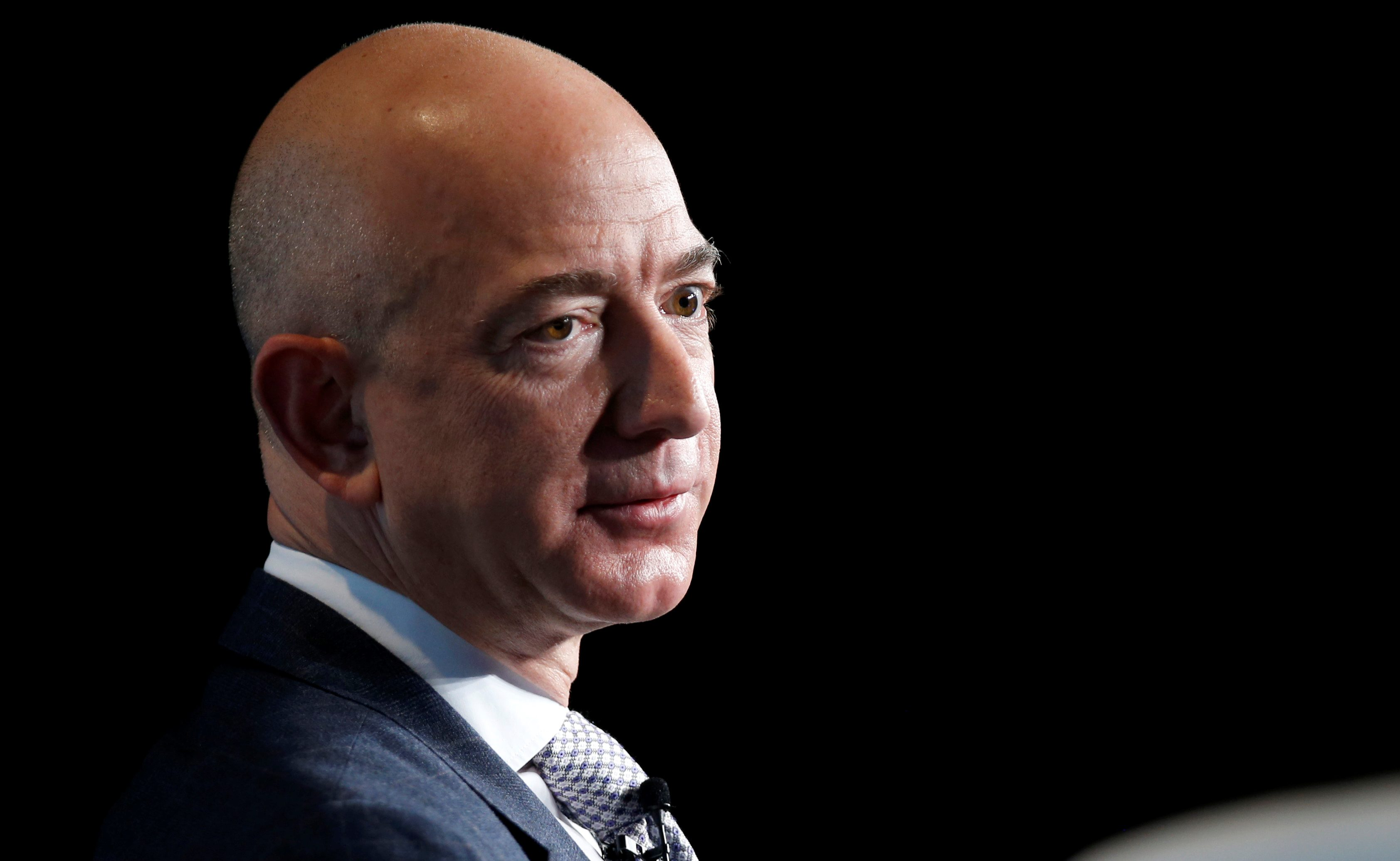 Amazon CEO Jeff Bezos looks skeptical.