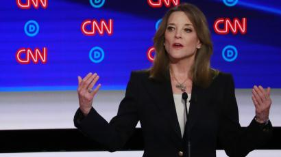 Author Marianne Williamson speaks on the first night of the second 2020 Democratic U.S. presidential debate in Detroit, Michigan, U.S., July 30, 2019. REUTERS/Lucas Jackson - HP1EF7V05NVK3